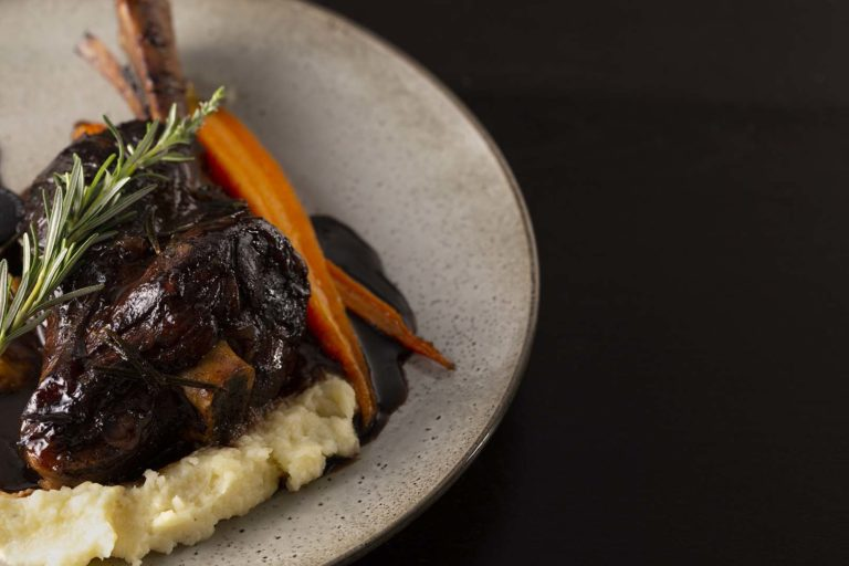 Winter menu lamb shank on parsnip mash