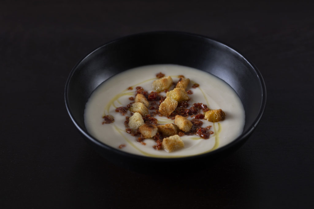 Cauliflower Soup with chorizo and garlic croutons